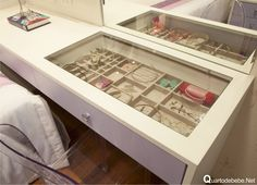 Escrivanhia tampa vidro repartição gaveta