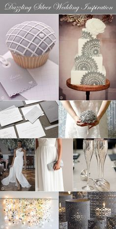 Silver and white wedding ideas with inspiration for favors, bouquet, dress, and more. Modern and sophisticated.  #silverweddings #silverandwhite