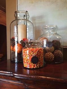 Mary And Martha, Halloween Decorations, Table Decorations, Glass Lanterns, Thanksgiving, Xmas, Seasons, Dining Room, Holidays
