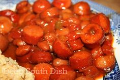 Beans and weenies, made from hot dogs, pork and beans, onion, and a tomato and ketchup based, brown sugar mustard sauce.