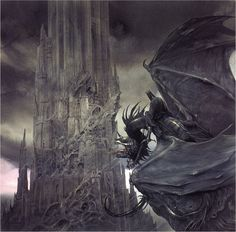 Lord of the rings art, Barad Dur by Allen Lee-  This man's art has been very influential on my art.