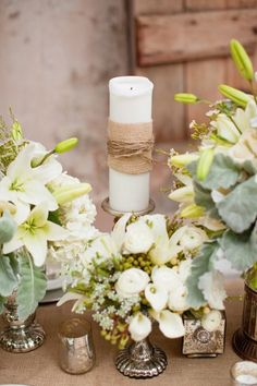 Burlap wrapped Candles + White High and Low arrangements I  Greer G Photography I #weddingcenterpieces
