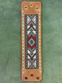 Sheridan Cuff Bracelet custom beaded leather inlay Western