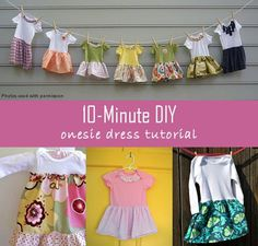 Make an adorable and affordable outfit for a baby girl or toddler in 10 minutes.  It is a super cute, easy, fun and affordable way to create a wardrobe any time of the year. Onesies (especially white) are really cheap, then any fabric (including scraps) would make for some cute, one-of-a-kind, outfits! Only basic sewing skills needed - so anyone can make them!