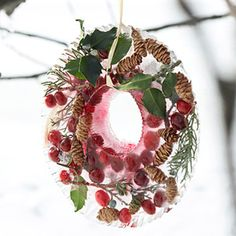 A sparkling wreath that serves as a bird feeder when the ice melts!