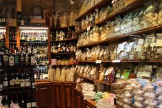 Pasta and other Italian food in shop in San Gimignano