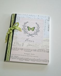 Composition Notebook journal green butterfly Notes by Tesorobella