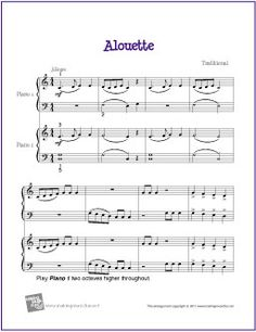Alouette (Duet) | Free Sheet Music for Easy Piano
