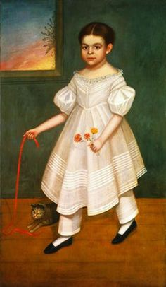 Joseph Goodhue Chandler (American artist, 1813 – 1884) Girl with Kitten