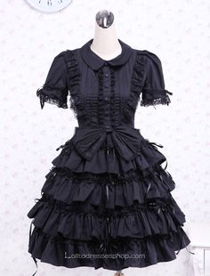 Cheap Black Bow Multi-layer Cotton Turndown Collar Gothic Lolita Dress Sale At Lolita Dresses Online Shop