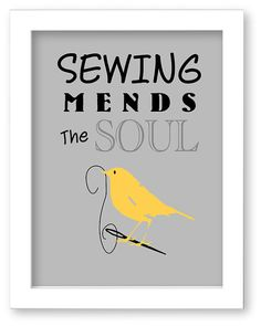 Sewing Mends The Soul Art Print, Sewing Room Decor, Bird, Needle and Thread, Gift
