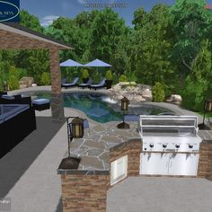 Pool Design by Wise Pool & Spa - 3d Pool, Swimming Pools Backyard, Pool Spa, Swimming Pool Designs, Outdoor Spaces, Outdoor Living, Swim Up Bar, Pool Service, In Ground Pools