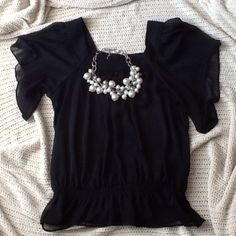 Massimo Sheer Black Blouse This is 100% polyester with elastic waist. Excellent condition.  Like new. Massimo Tops Blouses