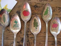 VEGETABLES++Old+Silver+Spoon+Garden+Marker+by+daisychestnut