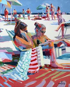 "Beach Gossip acrylic Come join me at the beach in sunny Key Largo. 2 spots left in my ""Learn to Paint Fast, Loose and Bold"" 3 day… Original Art, Original Paintings, Figurative Kunst, Canvas Prints, Art Prints, Big Canvas, Beach Images, Red Art, Beach Art"