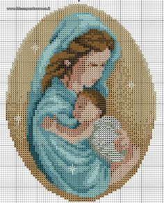 schema punto croce Madonna con bambino