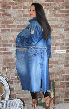 upcycled coat women's denim coat altered denim coat upcycled hippie coat hippie jeans coat Stylish coat Designer denim coat Grunge coat pop - Re-Fashion - Denim Fashion Jean Hippie, Hippie Jeans, Pullover Design, Sweater Design, Denim Mantel, Mode Jeans, Denim Ideas, Stylish Coat, Denim Coat
