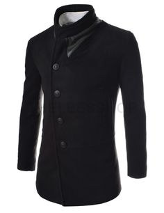 (CWC-BLACK) Slim Unbalanced Leather Patched Wool Coat