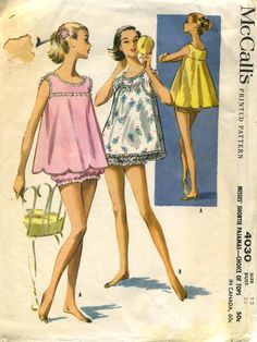 Baby doll pyjamas - 1957 This is funny not only because of the pajamas but the pattern sells for fifty cents