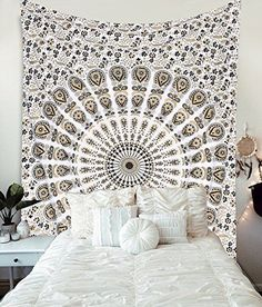 Gold and Black Tapestry Wall Hanging Mandala Tapestries Indian Cotton Bedspread Picnic Tie Dye Tapestry, Bohemian Wall Tapestry, Mandala Tapestry, Tapestry Wall Hanging, Tapestry Beach, Wall Hangings, White Home Decor, Easy Home Decor, Home Wall Art