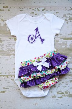 Purple Polka Dot Ruffle Bottom Bloomers and Personalized Onesie cuteness! Sewing For Kids, Baby Sewing, Purple Baby, Cute Outfits For Kids, 1st Birthday Girls, Cute Babies, Babies Stuff, Cute Baby Clothes, Future Baby