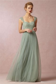 Sage Colors Sheer Straps Lace Bodice Vintage Wedding Dresses For Bridesmaid Tulle Ruffles Elegant Maid Of The Honor Formal Party Gowns