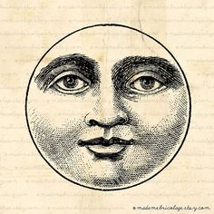 Moon Face - Digital Download for Iron on Transfer, Papercrafts, Pillows, T-Shirts, Tote Bags, Burlap, No 00012