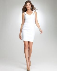 What's a perfect hot-weather wardrobe without a little white dress? {bebe Annabelle Cutout Linen Dress}