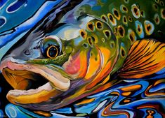 ARTFINDER: Rainbow Trout by Abi Whitlock - The scales of a rainbow trout are a riot of subtle colour. I wanted to amplify this colour to create a bold and bright impression of the fish. The swirling w. Trout Fishing, Fly Fishing, Fishing Tips, Fishing Lures, Fishing Cart, Spear Fishing, Women Fishing, Fishing Knots, Salmon Fishing