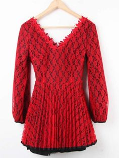Red V Neck Hollow Embroidery Lace Pleated Dress