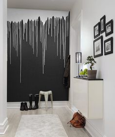 Welcome to a new collection of interior designs featuring 16 Elegant Scandinavian Hallway Designs That Can Improve Your Home Enjoy! - diy-home-decor Diy Wall Painting, Painting Designs On Walls, Room Paint Designs, Bedroom Wall Designs, Drip Painting, Bedroom Decor, Wall Decor, Wall Mural, Bedroom Ideas