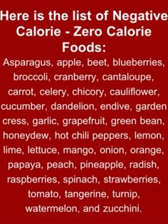 A List of Negative Calorie Foods
