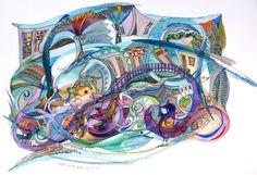 A Bridge over Troubed Water-Watercolor by DoritKohStudio on Etsy