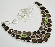 925 Sterling Silver Necklace Collar 102 Grm With Fancy by Gems036, $99.00 Sterling Silver Necklaces, Silver Jewelry, Smoky Topaz, Beautiful Gift Boxes, Semi Precious Gemstones, Collar Necklace, Peridot, Fashion Jewelry, Fancy