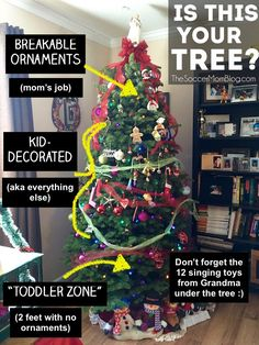 Helpful ideas to make decorating a Christmas tree with a toddler easier, safe, and FUN!