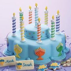The Lights of Hanukkah Cake - The recipe says it feeds 54.  They must not be Jews.  54 gentiles = 10 Jews when it comes to serving size.