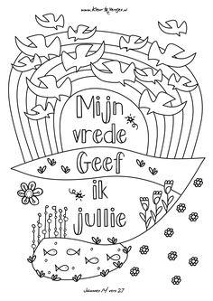 Gratis hippe kleurplaten van mooie versjes: Mijn vrede geef ik jullie, Johannes 14 vers 27