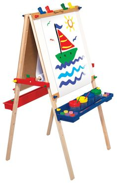 Creativity Central! This double-sided, wooden easel features both chalk- and dry erase-boards. With adjustable heights it also includes a locking paper roll holder, a child-safe paper cutter, four clips, and a plastic tray on each side for easy-reach art supplies (not included) and easy-clean storage.