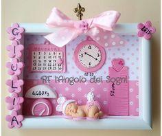 Picture newborn / quadretto nascita / benvenuto piccolino / fiocco nascita / pink baby / light blue baby di RFAngoloSogni su Etsy