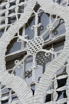 Detail - Lace made with nylon ropes cover windows - Arabel Rosillo de Blas, Lace in Place art project Bedford Creative Arts, UK Types Of Lace, Lace Art, Bobbin Lace Patterns, Lace Jewelry, Yarn Bombing, Lace Design, Crochet Lace, Creative Art, Lace Detail