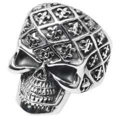 This bold ring by Vance Co. is made of stainless steel and features a skull with fleur-de-lis. A high polish finish completes the look. Metal: Stainless steel Finish: High polish Metal weight: 24 gram