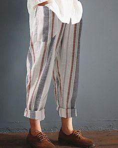 02ce1372d7147 Casual Striped Pockets Cotton Linen Pants – lalasgal Cotton Linen