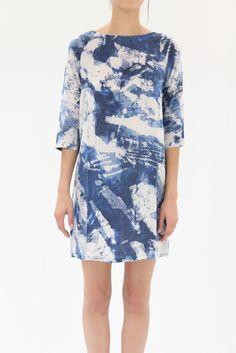 Osei Duro Linter Dress Blue Abstract