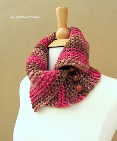 Knit cowl; I like how the button position allows for the top to fall open on this one...