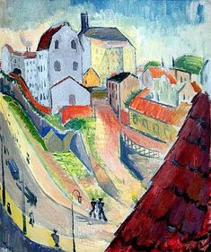 Isaac Grünewald - The Street of the Glasswork, 1914 Henri Matisse, Modernisme, City Painting, Abstract Canvas, Landscape Paintings, Landscapes, Figurative Art, Stockholm, Photo Art