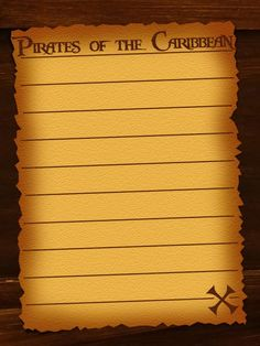 Journal Card - Pirates of the Caribbean - lines - Download to get full size, Personal use only! Copyright Disney.