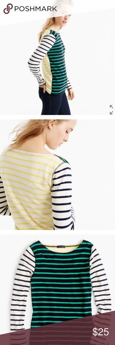 NWT J. Crew Waffle T-shirt J. Crew Waffle t-shirt in stripe combo.  Colorful stripes, plus a new waffle knit that won't stretch out with wash and wear.  Cotton/spandex blend.  Color: Black Emerald Canary. J. Crew Tops Tees - Long Sleeve
