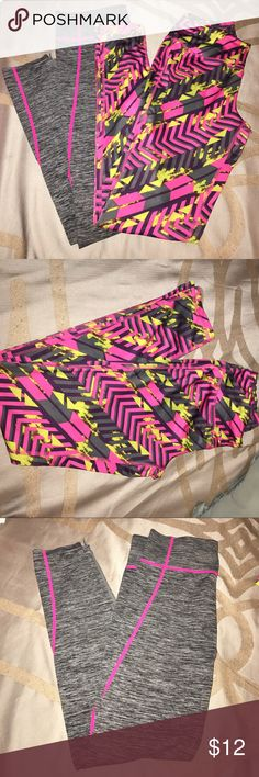 Bundle of workout leggings Both are size small. The pink patterned pair are dri fit spandex and the other pair is not. Pink pair worn once, gray pair new without tags. Pants Leggings