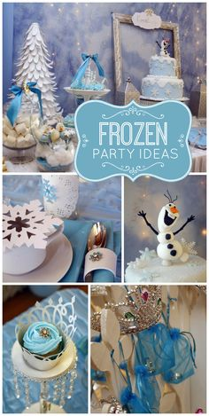 Celebrate with Anna, Elsa and Olaf at this Frozen girl birthday party with lovely party decorations, cake pops and birthday cake! See more party ideas at CatchMyParty.com!