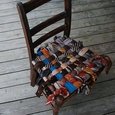 33 Creative Ways of Recycling Old Ties That Will Inspire You Accessories Clothing Repurposed Furniture, Unique Furniture, Furniture Ideas, Reclaimed Furniture, Furniture Design, Pallet Ottoman, Tie Pillows, Old Ties, Tie Crafts
